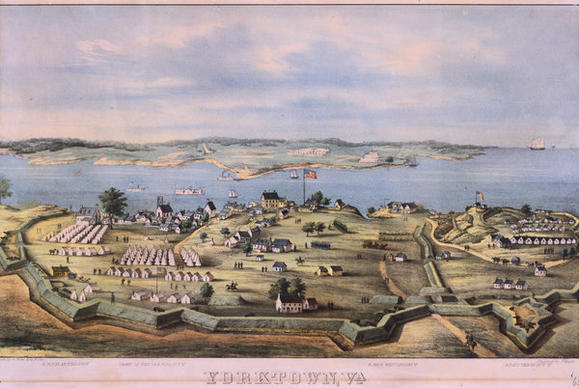 This Civil War lithograph shows Fort Yorktown in late 1863, including such details as the Union gunboats patrolling the York River and the tent cities where the garrison lived. Used as a hospital, the Nelson House can be seen at center.