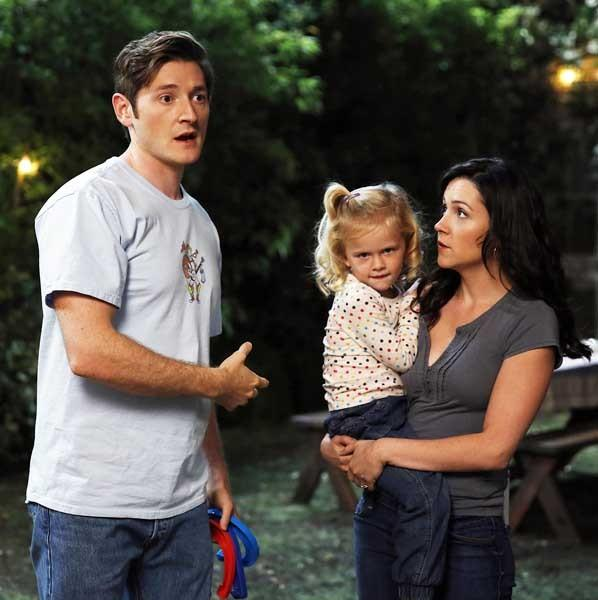 "Lucas Neff, left, Baylie/Rylie Cregut and Shannon Woodward in ""Raising Hope"" on Fox."