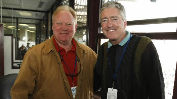 Chicago Cubs radio broadcast team of Keith Moreland, right, and Pat Hughes in a 2011 photo at Wrigley Field.