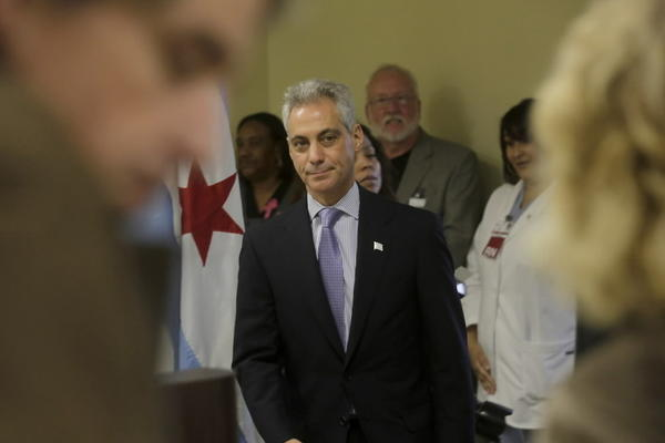 Mayor Rahm Emanuel, seen here at Roseland Community Hospital today, defended the Ventra CTA rollout despite problems.