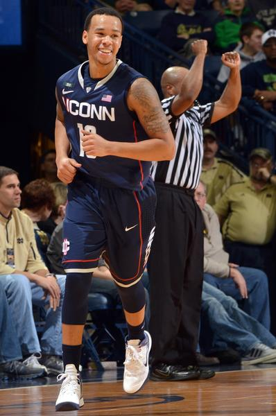 Jan 12, 2013; South Bend, IN, USA; Connecticut Huskies guard Shabazz Napier (13) reacts after a three point basket in the first half against the Notre Dame Fighting Irish at the Purcell Pavilion. UConn won 65-58. Mandatory Credit: Matt Cashore-USA TODAY Sports ORG XMIT: USATSI-103736
