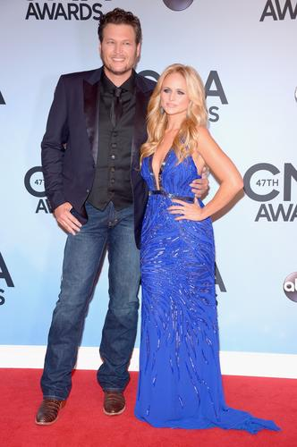Blake Shelton and Miranda Lambert attend the 47th CMA Awards at the Bridgestone Arena in Nashville.