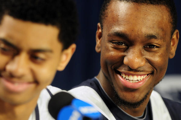ANAHEIM - CA - 03/25/11 - UConn's Kemba Walker talks in a press conference next to Jeremy Lamb, left, at the Honda Center during the NCAA West Regional Friday, March 25, 2011. UConn beat San Diego 74-67 and Arizona beat Duke 93-77 and will face each other in the Elite Eight Saturday. BETTINA HANSEN | bhansen@courant.com ORG XMIT: B581148303Z.1