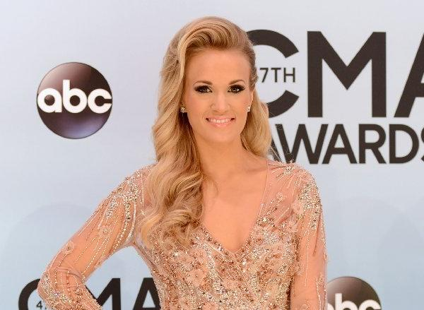 Carrie Underwood on the red carpet for the CMA Awards in Nashville.
