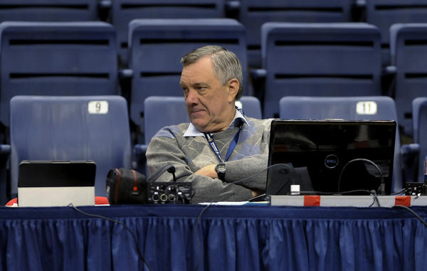 Storrs, CT 10/30/13 WTIC radio color man Wayne Norman calling the game on press row, solo and with lead guy Joe D'Ambrosio. Also, pls get newcomers Terrence Samuel, Kentan Facey and Amida Brimah. And as many players and coaches as possible. Also, Southern's head coach. Photo by JOHN WOIKE | woike@courant.com hc-uconn-men-hoop-1031
