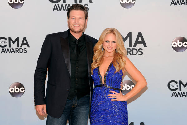 Blake Shelton, arriving with wife Miranda Lambert at the 47th annual CMA Awards on Wednesday in Nashville, won album of the year for his 'Based on a True Story...'