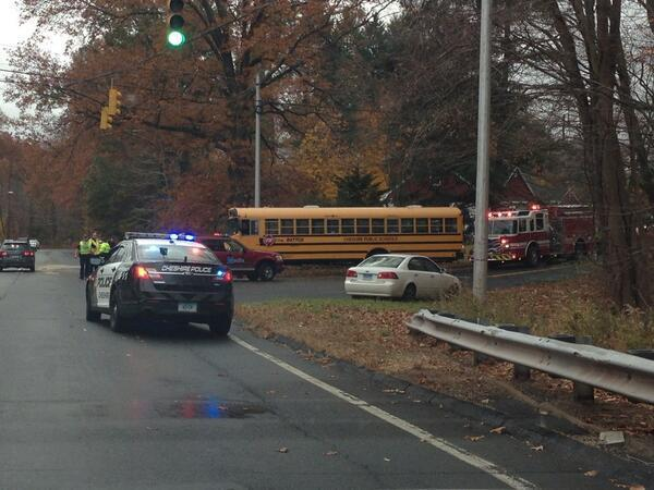 The scene of a crash involving a bus in Cheshire early Thursday.