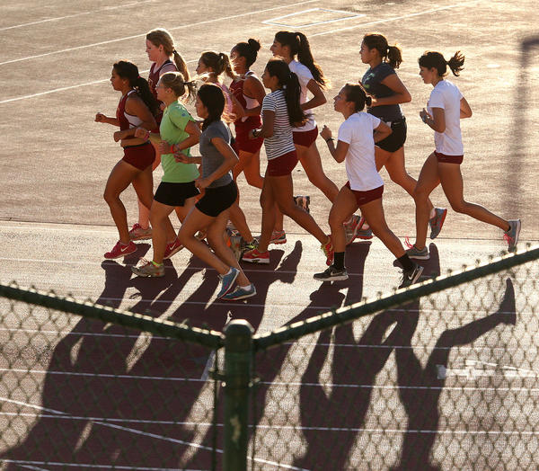Glendale Community College women's cross country team during practice at GCC during an afternoon practice on Wednesday, Aug. 28, 2013.
