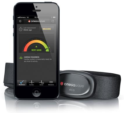 By measuring your heart's electrical activity in the morning (measurements are made by wearing a chest-strap sensor), Omegawave will help determine how best to train according to your cardiac output. Results are viewable by smartphone.