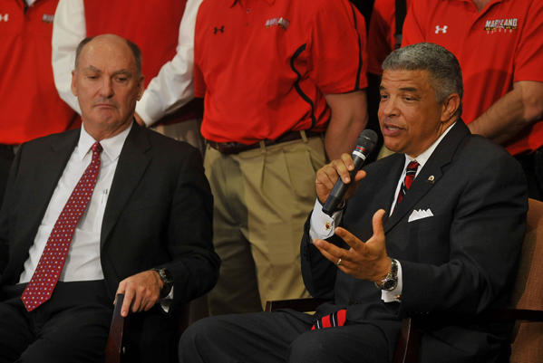 After secret negotiations with Big Ten Conference commissioner Jim Delany, left, Maryland athletic director Kevin Anderson, right, and other school officials monitored fans' reactions to joining the Big Ten.