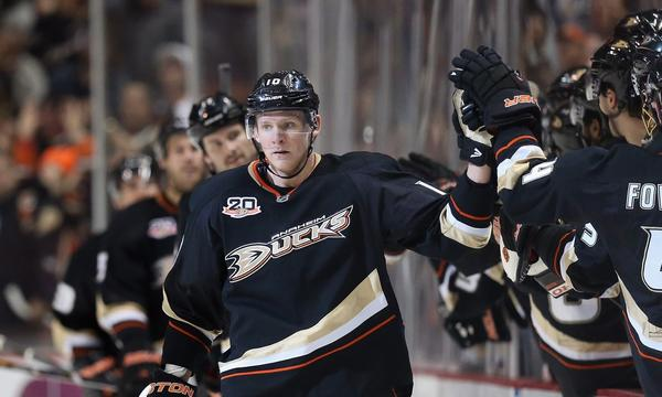 Ducks forward Corey Perry celebrates after scoring a goal against the Phoenix Coyotes on Wednesday.