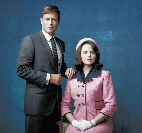 "Rob Lowe as President John F. Kennedy, and Ginnifer Goodwin as Jackie Kennedy in ""Killing Kennedy."""