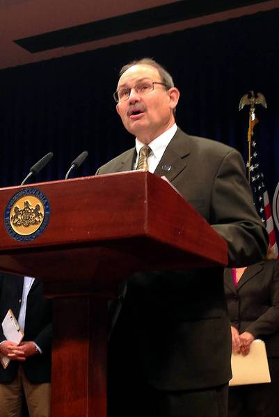 John Arway, executive director of the Pennsylvania Fish and Boat Commission, critics a legislative bill he says will weaken protection of endangered species during a news conference in Harrisburg.