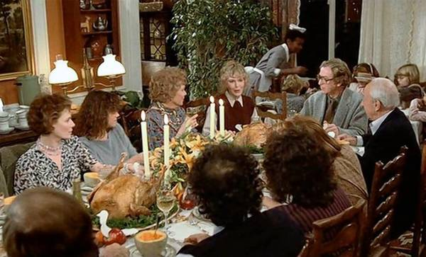 "Three Thanksgiving dinners serve as the framework for the plot of Woody Allen's ""Hannah and Her Sisters."""