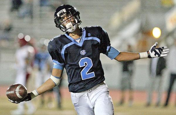 Crescenta Valley High wide receiver Connor Van Ginkel celebrates a touchdown during the Falcons' 49-14 win over Arcadia on Thursday. (Roger Wilson/Staff Photographer)