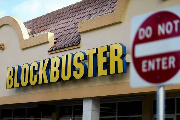 A Blockbuster video store is seen in Miami. Blockbuster announced today that it will close its 300 remaining U.S. stores by early January.