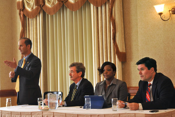 The candidates in the Democratic primary for Attorney General, from left, Del. Jon S. Cardin, Del. Brian E. Frosh, Del. Aisha Braveboy and Del. Bill Frick each spoke at a forum sponsored by the Maryland State and D.C. Building Trades conference in September.