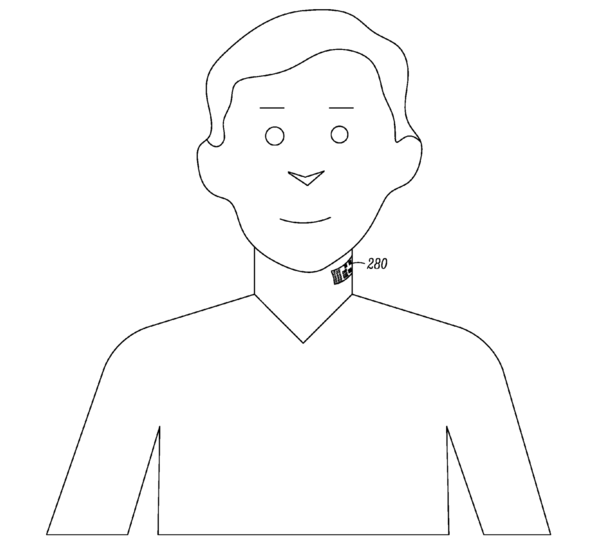 Motorola has applied for a patent of a microphone that users would have tattooed onto their throats, as indicated in a drawing submitted with the patent application.