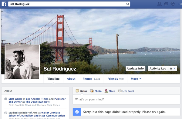 A glitch with Facebook appears to be preventing some users from seeing their own profile pages.