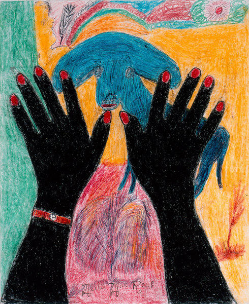 "Nellie Mae Rowe, ""Peace,"" 1978; mixed media on paper"