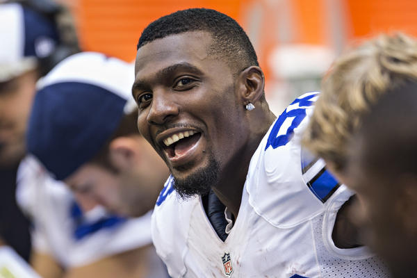 Dez Bryant of the Dallas Cowboys talks on the sidelines during a game against the Minnesota Vikings at AT&T Stadium on Nov. 3 in Texas.