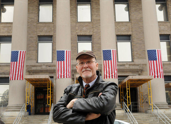 Paul Vallas, Bridgeport superintendent of schools, in front of Bridgeport City Hall in March.