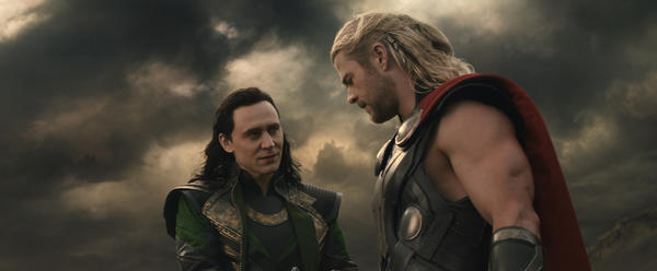 "Tom Hiddleston and Chris Hemsworth in the sequel ""Thor: The Dark World."""
