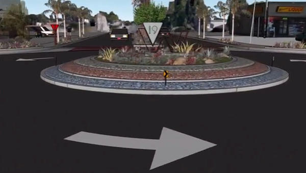 Pictured is a proposed turnabout along West 19th Street in Costa Mesa. City officials are seeking input in an effort to beautify the street and reduce traffic speeds.