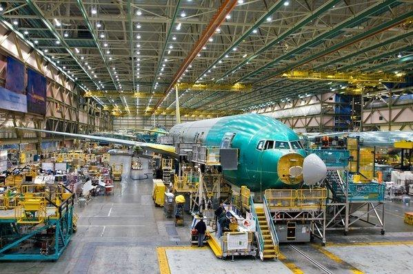 Boeing's 777 assembly line in Everett, Wash.
