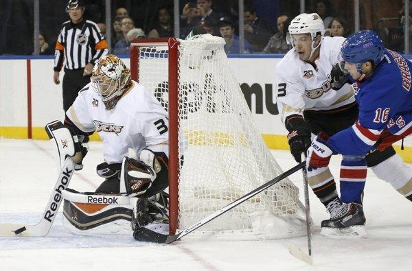 Ducks goalie Frederik Andersen, 31, stops a shot by New York Rangers center Derick Brassard on Nov. 4.