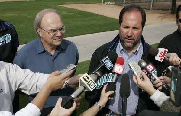Diamondbacks' managing general partner Ken Kendrick talks to reporters in 2005.