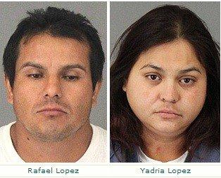 Rafael and Yadria Lopez were arrested in Riverside County on Thursday after their 8-year-old son told school officials that marijuana he was carrying was grown in his backyard, authorities said.
