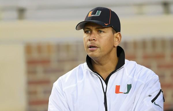 Alex Rodriguez watches from the sidelines during a game between the Florida State Seminoles and the Miami Hurricanes at Doak Campbell Stadium on November 2, 2013 in Tallahassee, Florida.