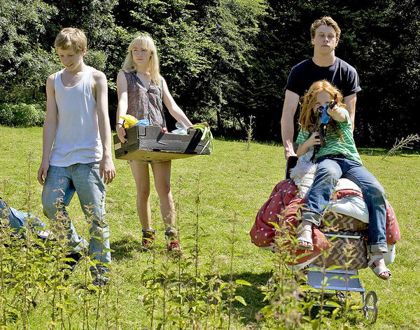 "Tom Holland, Saoirse Ronan George MacKay and Harley Bird in ""How I Live Now,"" a Magnolia Pictures release."