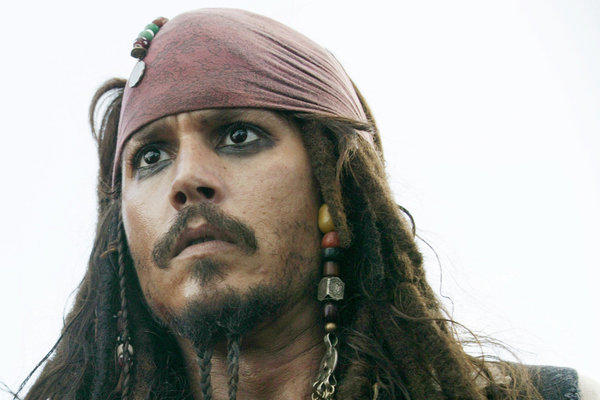 "Johnny Depp as Capt. Jack Sparrow in ""Pirates of the Caribbean: At Worlds End."""