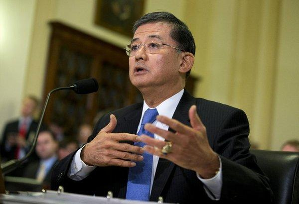 Veterans Affairs Secretary Eric J. Shinseki, seen above last month testifying on Capitol Hill, said his department has reduced its backlog of overdue disability claims by about 200,000.