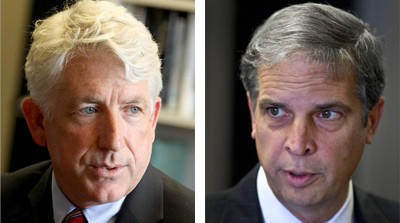 Republican State Sen. Mark Obenshain, R-Harrisonburg, right, held a narrow lead over his Democratic opponent Mark Herring Tuesday night in a tightly contested race for the Attorney General's office.