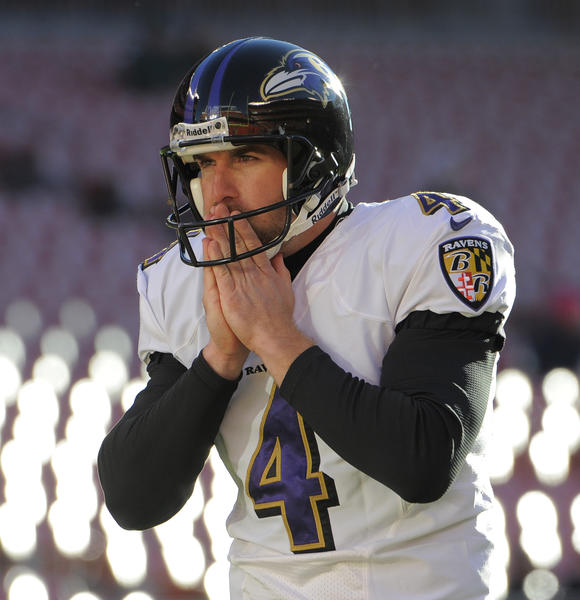 Ravens punter Sam Koch warms his hands before Sunday's game at Cleveland.