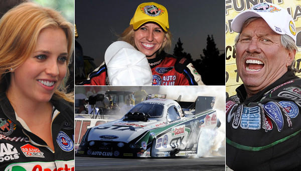 Brittany Force, left, sister Courtney Force, top, and father John Force each have played prominent roles in promoting the sport of drag racing.