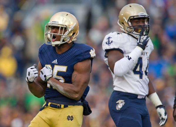 Notre Dame running back Tarean Folston celebrates in the second quarter against Navy.