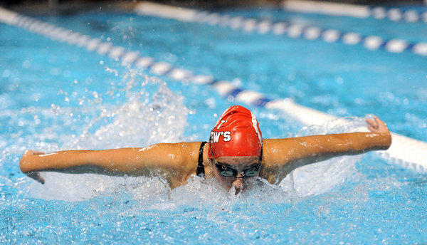 St. Andrew's Megan Moroney swims in the girls' 100-yard butterfly at the Class 1A swim meet in Stuart.