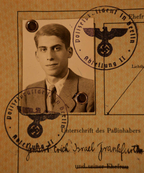 Detail of the German Landing Card of Gerald Franks of Glencoe, photographed on Wednesday, November 6, 2013. Franks is a survivor of Kristallnacht, Nazi attacks on German Jews on November 9, 1938.
