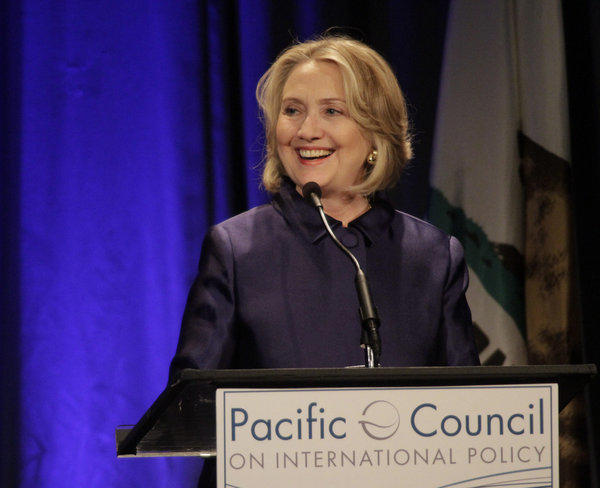 Hillary Rodham Clinton, speaking in a May visit to Beverly Hills, returned to Los Angeles to be honored at a gala for the International Medical Corps.