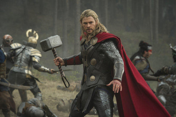 "Chris Hemsworth with his really big mallet in ""Thor: The Dark World."""