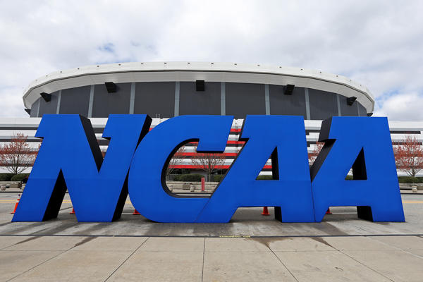 A detail of giant NCAA logo is seen outside of the stadium on the practice day prior to the NCAA Men's Final Four at the Georgia Dome April 2013.
