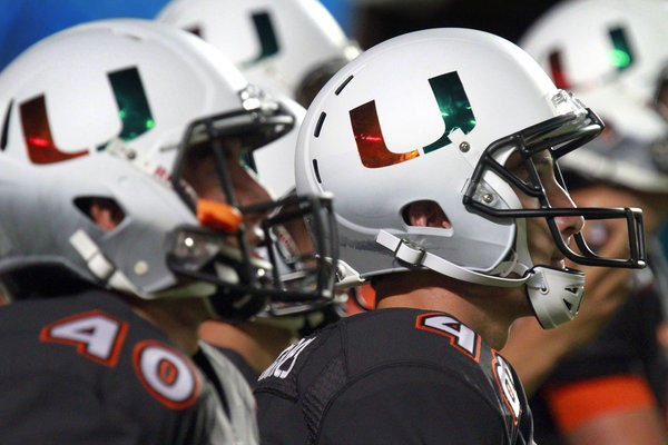 The Miami football team was wearing a different uniform. The Miami Hurricanes take on Virginia Tech during their homecoming game at Sun Life Stadium.