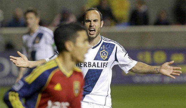 Landon Donovan shouts to a teammate during the Galaxy's overtime loss to Real Salt Lake, 2-0, in second leg of the MLS Western Conference semifinal Thursday. The Galaxy's elimination in the semifinal is the team's earliest exit from the playoffs since 2008.