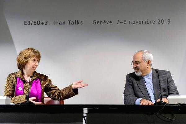 Catherine Ashton, the EU foreign policy chief, and Iranian Foreign Minister Mohammad Javad Zarif attend a final news conference in Geneva after the three days of talks failed to reach a deal.