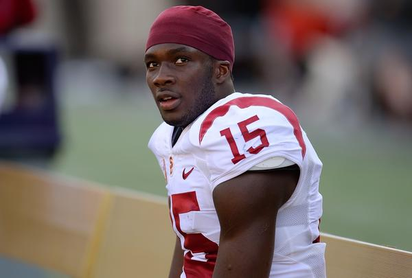 Trojans receiver Nelson Agholor takes a breather after tying a USC record with a second punt return touchdown in the first half against California.