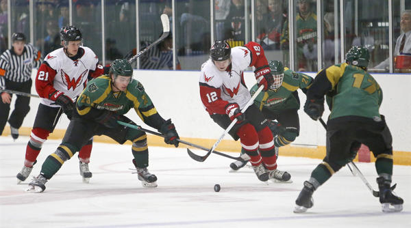 Austin Heakins (12) of the Aberdeen Wings, tries to get control of the puck as Brent Bockman, of the Minnesota Wilderness (23) reaches in during the second period of Saturday night's game at the Odde Ice Center. In on the play are the Wings' Bjorn Sigurdarson (21) and the Wilderness' Dan Litchke (20) and Dominik Tiffels (17). photo by john davis taken 11/9/2013